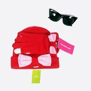 Kate Spade Beanie Hat and Gloves Red Pink
